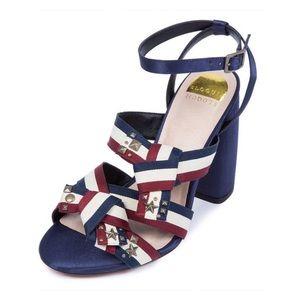 NWOB Eloquii Jules Blue Red White Stud Block Heels
